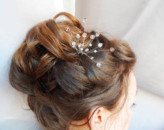 Pink hairpin, bridal hair accessories, Hairpin for the bride, Pink hair accessories, Wedding hairpins, Diadem, Cryastals in hairstyle.