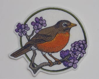 Bird Iron-on Patch. Embroidered Patch. Sew-On Patch. Birds on Flowering Branches Robin on Lilac