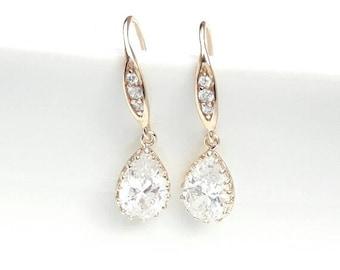Bridal drop earrings CZ, gold plated earrings, wedding cubic zirconia earrings, Crystal jewelry, Teardrop earrings, Bridal earrings