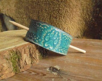 Wolf paw, water element, turquoise leather hair Barrette