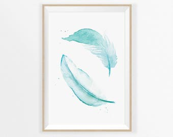 FEATHER Art PRINT, Two Feathers Print, Turquoise Feather WATERCOLOR Print, Two Feathers Painting Blue, Gift for Women, Digital Download