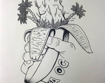 Banana OG Poster Hand Printed