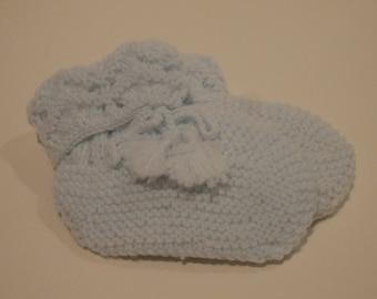 Pale Blue Crochet Booties