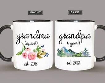 Mug Set, Grandma Again Baby Reveal Mug, Grandpa Again Baby Reveal Mug, Grandma Gift, Grandpa Gift, Grandparent Gift