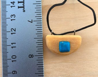 Turquoise and Basswood Pendant