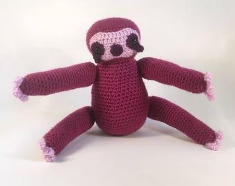 Crocheted Purple Sloth Plush