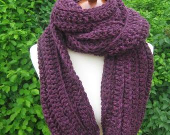 Crochet Scarf; Handmade; Purple
