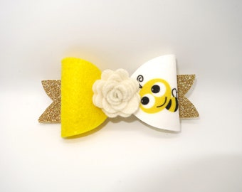 Bumble Bee Flower Gold Glitter French Bow Baby Headband | Spring Headband | Easter Hairbows | Spring Hair Accessory | Custom Glitter Bow