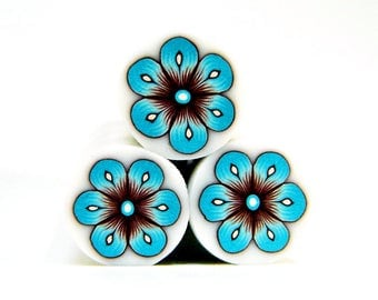 Polymer clay flower cane: Raw polymer clay cane - Millefiori cane supplies - Blue and brown flower cane - Supplies for jewelers