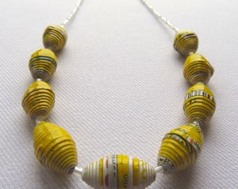 Freshpak rooibos teabag box yellow paper bead necklace