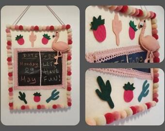 Handmade blackboard wall calendar! Rainbow pink pon pon flamingo and pineapples!!!