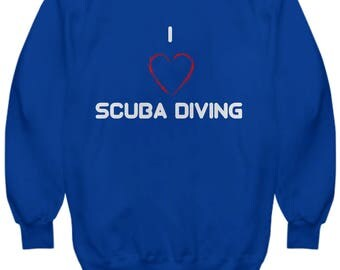 Scuba Divers Hoodie, I Love Scuba Diving, Awesome Gift Idea for Divers