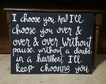 I Choose You- Canvas Art- Home Decor- Love Decor