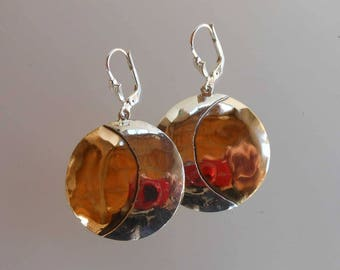 Earrings in bronze and silver Bo C1104