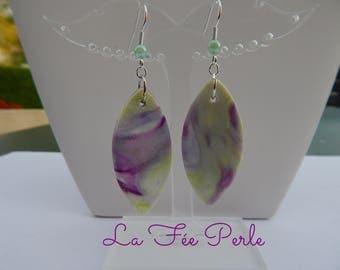 Purple, lime green earrings
