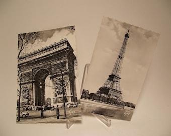 Set of 2 Vintage Black & White Paris France Postcards by Guy Eiffel Tower Arc de Triomphe