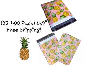 "FREE SHIPPING! (25-400 Pack) 6x9"" Pink Pineapple Designer Poly Mailers"