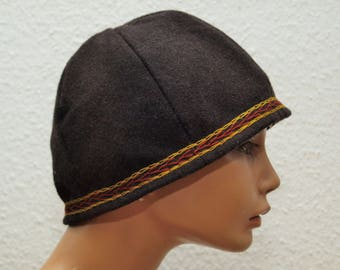 CAP, middle age, Viking, Rus, embroidered, Herringbone, Gr. 61, Wool, linen