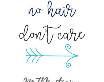No Hair Don't Care Onesie Embroidery Design