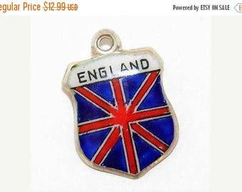 Vintage Silver Enamel Travel Shield Bracelet Charm England Flag
