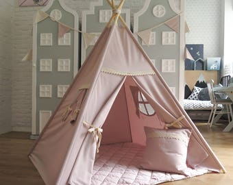 light pink teepee tipi with beige lace playtent tent play teepee ready to ship kids wigwam children birthday gift halloween bday child room