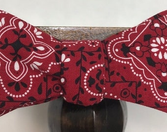 Western Men's bow tie, self-tie handmade and adjustable from upcycled and repurposed material  // bandana // ReTied
