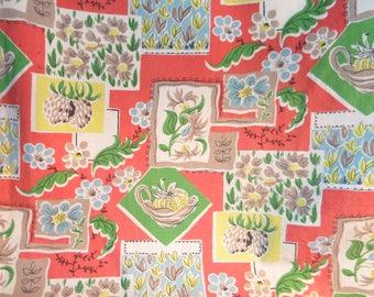 Attractive Vintage Retro Kitsch 1950u0027s Cotton Kitchen Fabric Curtain