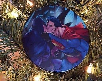 Gay Batman and Superman Building Kiss Ornament, Gay Pride Ornament, Gay Pride, Gay Christmas Ornament, Gay Ornament,  Gay Wood Ornament