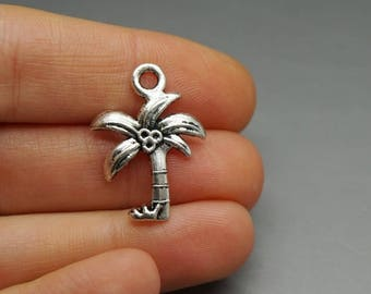 Set of 3 charms Palm tree was silver coconut tree (B28)