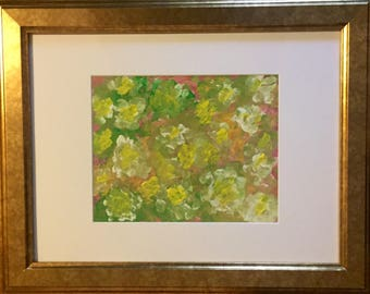 Flower blossoms, abstract art, floral, painting on canvas, framed art