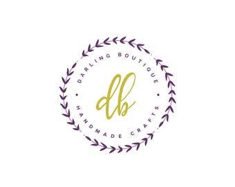 Boutique Logo - Premade Logo - Blogger Logo - Round Logo - Circle Logo - Floral Logo - Floral Wreath Logo - Minimal Logo - Simple Logo