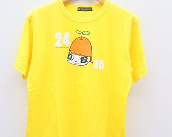 Vintage 24 HOUR TELEVISION Yellow Tee T Shirt Size XL