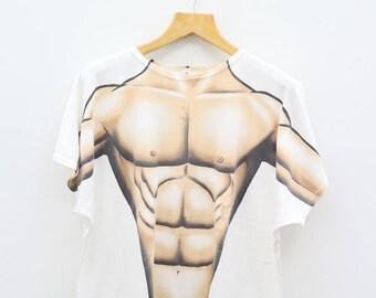 Vintage BODY BUILDER Gym Fashion Victim White Tee T Shirt Size XL