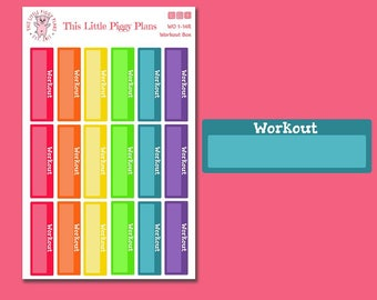Rainbow Workout Boxes - Functional Planner Stickers - Fitness Stickers - Exercise Stickers - Workout Stickers - Cardio - Run - [WO 1-14R]