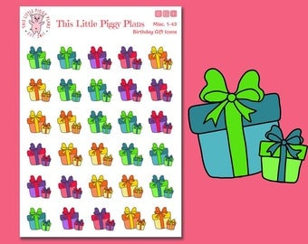 Birthday Gift Icons Planner Stickers - Presents Stickers - Birthday Stickers - Gifts Icons - Birthday Presents - Birthday Icons - Misc 1-43]
