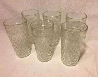 Set of 6 Vintage Jelly Glass Tumblers