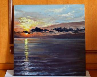 Sunset (Original oil painting 25 X 25 cm)