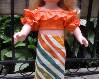 Ruffled off the shoulder blouse and straight skirt. Fits like American Girl doll clothes, 18 inch doll, AG doll clothes, doll clothes