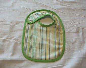 Reversible Green striped baby bib