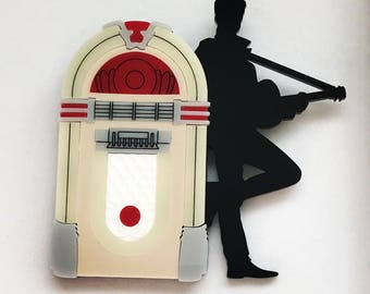 Laser Cut Acrylic George Michael Brooch - Faith - Jukebox - plastic Jewellery - Music Icon - perspex brooch pin