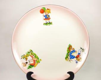 Vintage plate porcelain plate, child Alcobaça Raul da Bernarda, made in portugal Portuguese Dinnerware collection, baptism, decoration