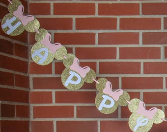 Banner { Customizable } | Pink & Gold Banner  | Minnie Mouse Banner