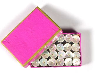 Vintage Mother of Pearl 120 Buttons on Original Card and Box