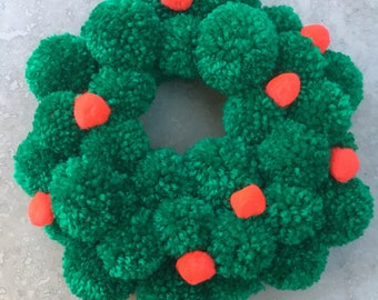 Handmade Christmas Pom Pom Wreath/Ring