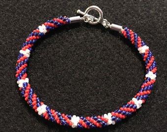 Red, white and blue patriotic bracelet.