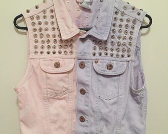 pink x purple denim studded vest