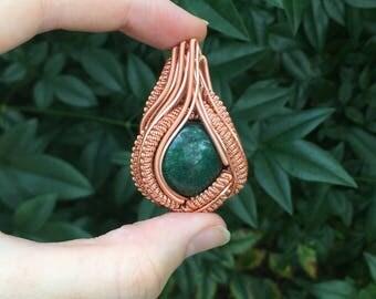 Copper Fuschite Wire Wrapped Pendant