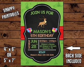 Deer Birthday Invitation, Birthday Invite, Party Invite, Printable, Digital File - 47