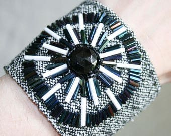 Hand Beaded Black and White Fabric Cuff Bracelet