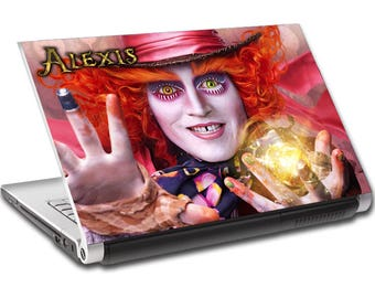 Mad Hatter Alice In Wonderland Personalized LAPTOP Skin Decal Sticker NAME L363